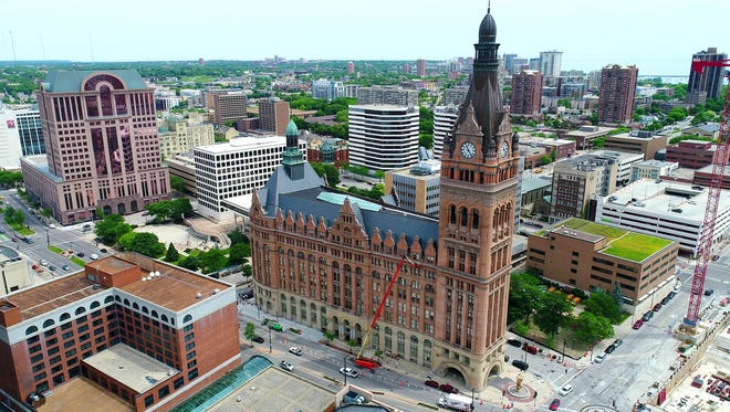 Milwaukee City Hall on Thursday, June 14, 2018.   - - drone aerials journalism Milwaukee Skyline city cityscape government common council    Photo by Jim Nelson and Mike De Sisti / Milwaukee Journal Sentinel