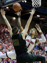 New Albany's Romeo Langford with an acrobatic shot