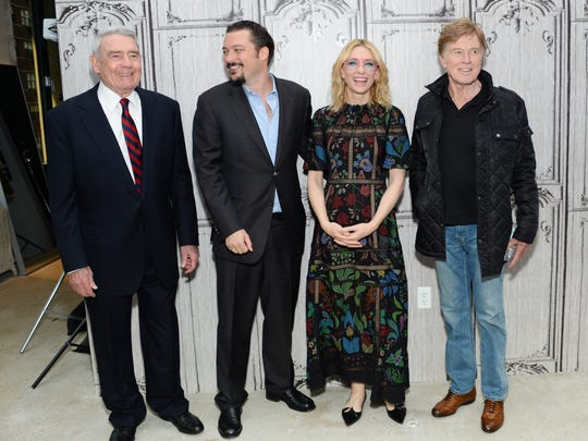 Television journalist Dan Rather (from left), director James Vanderbilt, actress Cate Blanchett and actor Robert Redford at AOL's BUILD Speaker Series on  Oct. 8 in New York.