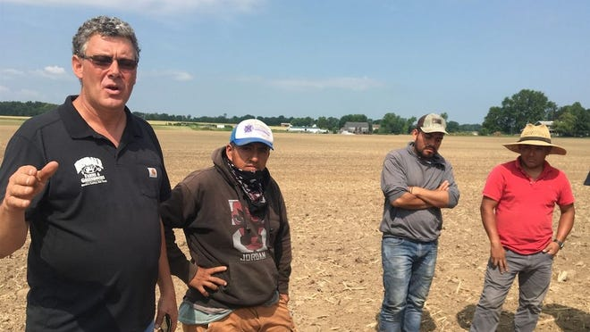 Dale Hemminger is seen last year at his family farm, Hemdale Farms and Greenhouses in Seneca Castle, talking about the farming operations with some of his workers.