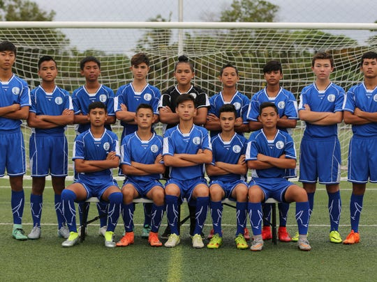 Guam's U14 Boys national football team departed Sunday to compete in the AFC U14 Regional Festival of Football 2016 in Beijing, China set to begin Sept. 6 through to Sept. 11. Seated, from left: Micah Hennegan, Hayden Shedd, Kyle Halehale, Joshua Miller and Mark Iseke. Back row, from left: James Lee, Josiah Duenas, Joshua Bamba, Kainoa Ferguson, Allan Aranas, Matthew Iseke, Robert Niu, Shane Larkin and Juan Sarmiento. Players not in the photo are Graysen Garber, Michael Lee, Alex Rodriguez and Niclas Vavra. Coaches traveling with the team are Kevin Elwell, Matthew Elwell, Christopher Shaver and Mark Chargualaf. In addition to the team competing, two referees from Guam, Kyle Legozzie and Michael Topasna, recently concluded a referee course in China and will receive assignments in U14 Boys festival matches.