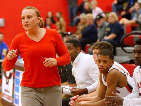 Stewarts Creek boys basketball coach Dawn Barger is shown during a 2018 game. Barger is a former girls assistant at Blackman.
