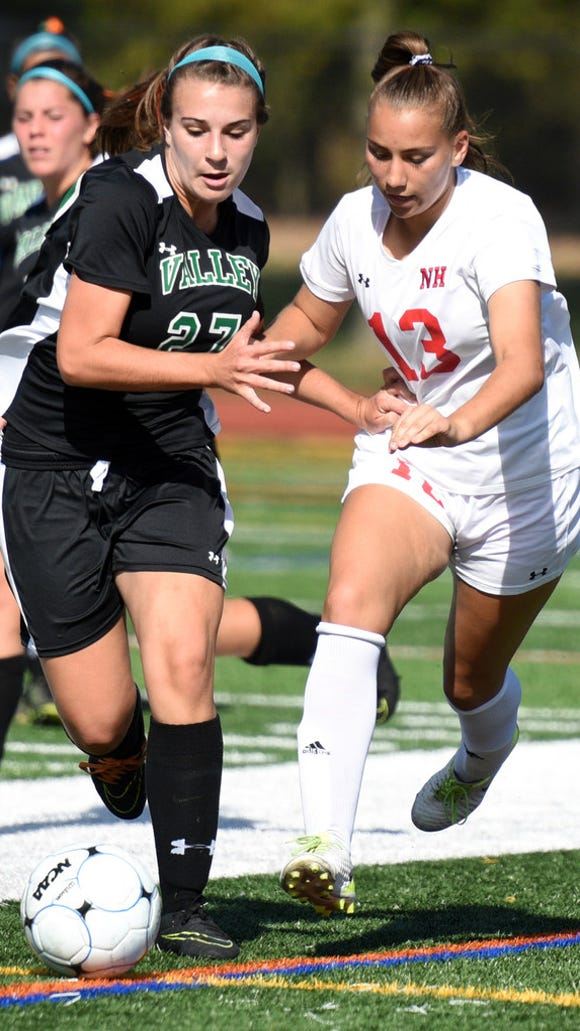 Amanda McGlone (left) and Pascack Valley and Cass McCabe (right) and Northern Highlands both clinched Big North division titles on Thursday.