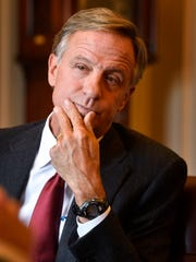 Gov. Bill Haslam listens carefully to a question before