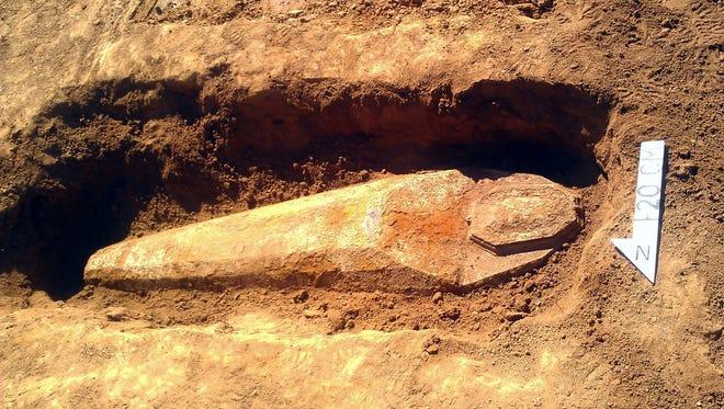 Confederate soldier's iron coffin.