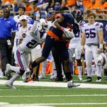 Adairius Barnes (21) and Louisiana Tech's cornerbacks played well against UTSA, but the Bulldogs' safeties allowed two long touchdowns in Saturday's win.