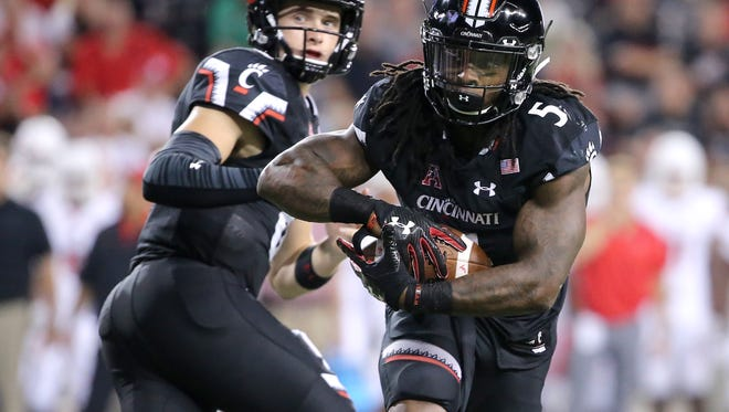 Cincinnati Bearcats running back Mike Boone (5) said that UC is in 'shock the world' mode for its game Saturday at heavily favored Michigan.