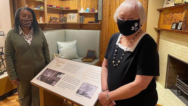 Women Creating a Legacy Committee members Gwendolyn White, left, and Noel Burgoyne visit Winifred Watson's former bedroom in the Watson-Curtze Mansion at the Hagen History Center, 356 W. Sixth St. Part of the Women Creating a Legacy proceeds from previous years helped to sponsor this room.