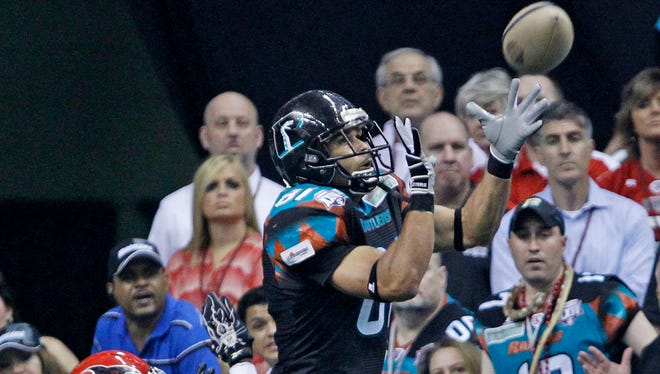 Chris Jackson, making a catch during ArenaBowl XXIV in 2011, had three catches for 54 yards in limited action in his first game back since 2011.