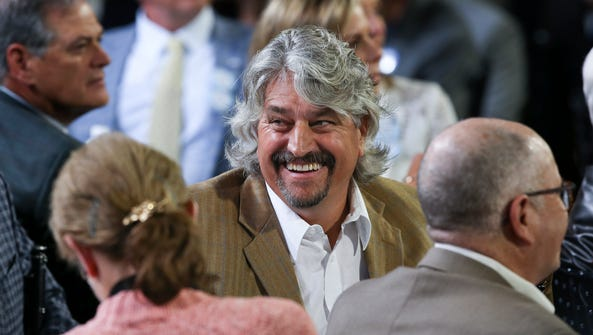 Steve Asmussen, trainer of Creator, joked with guests