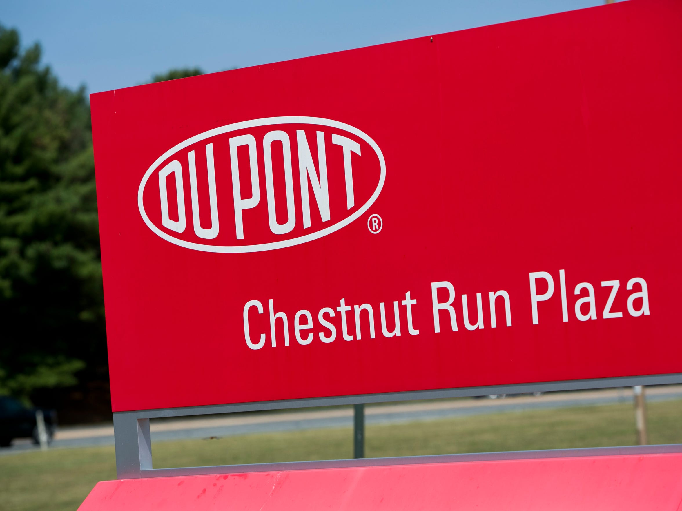 A logo sign is outside of DuPont's headquarters at