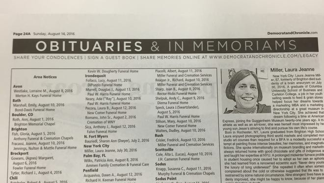 """The """"Democrat and Chronicle"""" obituaries page for Sunday, Aug. 14, 2016."""