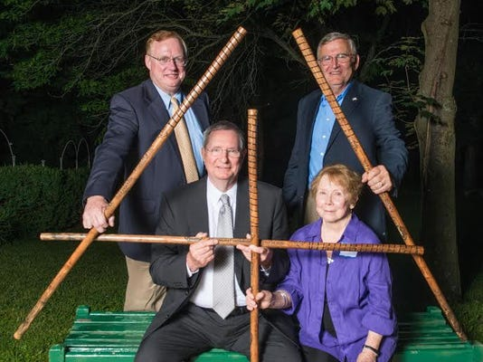 The 2015 Appalachian Trail Hall of Fame honorees and representatives are clockwise, from top left, Bill O Brien, representing Ned Anderson of Sherman, Connecticut; Bill Torrey, representing Raymond Torrey of New York City, New York; Judy Murray, representing Stan Murray of Kingsport, Tennessee; and Bob Almand, representing Margaret Drummond of Atlanta, Georgia.