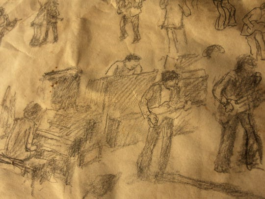 A close-up of a concert sketch by artist Ed Epstein.