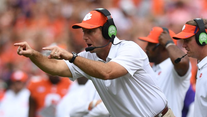 Clemson head coach Dabo Swinney coaches against Wake Forest during the 4th quarter on Saturday, October 7, 2017 at Clemson's Memorial Stadium.