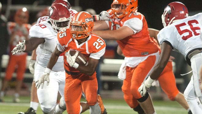 Cherokee's E.J. Bard runs the ball during a loss to Lenape last year. The Chiefs open up their season on Friday at Shawnee.