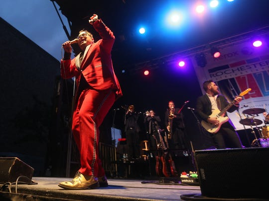 Paul Janeway of St. Paul & the Broken Bones performed on the outdoor stage at Chestnut and East Ave. on the opening night of the Rochester International Jazz Festival.