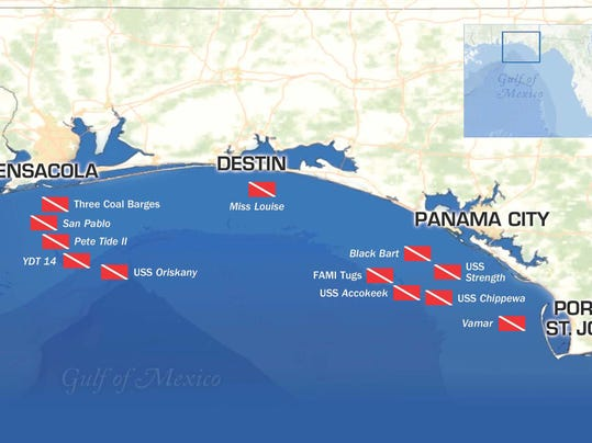 A Map Shows All The Dive Sites Along Florida Panhandle Shipwreck Which Ranges From Pensacola Beach To Port St Joe Photo