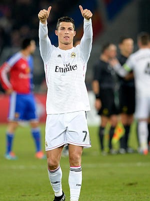 Real Madrid's Cristiano Ronaldo thanks the fans after an UEFA Champions League Group B match against Switzerland's FC Basel 1893.