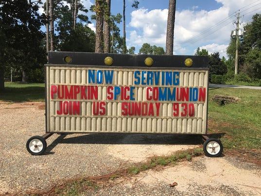 Pumpkin spice Communion sign