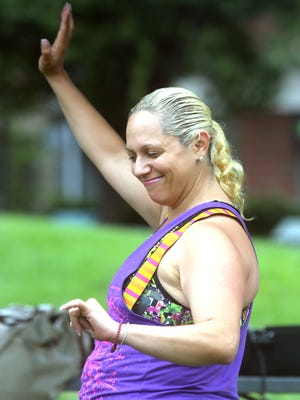 Maria Vargas of Yonkers leads a Zumba dance session during Dance En Plein Air, a weekly dance program at the park at the New Rochelle library July 9, 2016. The weekly program, sponsored by the New Rochelle Council on the Arts, takes place during the weekly farmer's market and features a different style of dance each week.