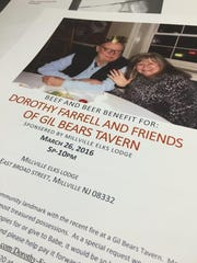 """A flyer promoting a benefit for Dorothy """"Babe"""" Farrell,"""