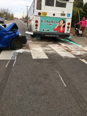 A vehicle collided with a bus while changing lanes on Lancaster Drive in Salem around 3 p.m. on Tuesday, Nov. 7, 2017.