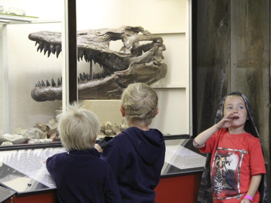 In the Carter County Museum, Mason Bergerson calls for his mother to come see a dinosaur exhibit. With him are Caleb Nathan, left, and Nolan Hansen.