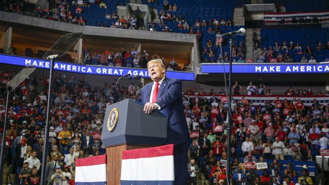 President Donald Trump speaks during his campaign rally at BOK Center in Tulsa, Okla., Saturday, June 20, 2020.
