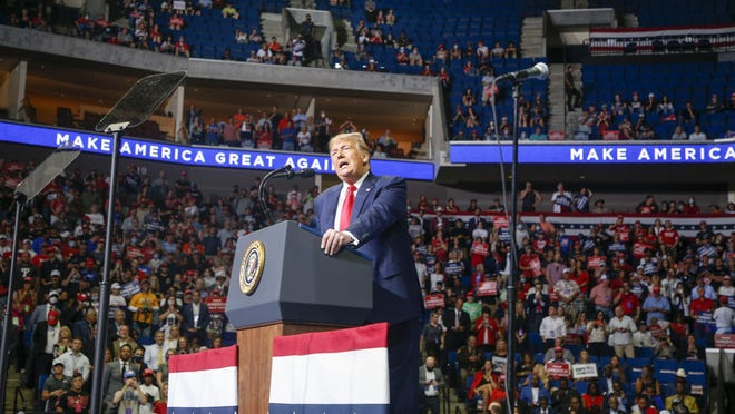 President Donald Trump speaks during his campaign rally at The BOK Center in Tulsa on Saturday, June 20, 2020.