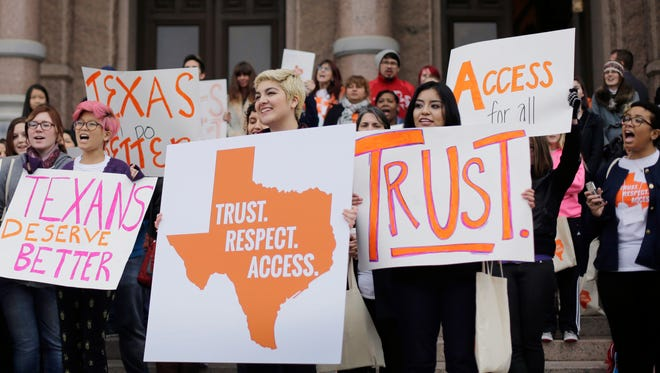 Abortion rights activists demonstrate on the steps of the Texas state Capitol in Austin last February.