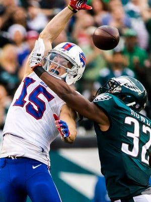 The Eagles traded cornerback Eric Rowe, shown defending a pass against Buffalo Bills wide receiver Chris Hogan last season, to New England on Wednesday..
