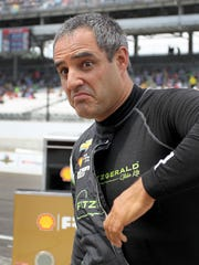 Juan Pablo Montoya was a Team Penske driver when this photo was taking during practice for the 2017 Indy 500.