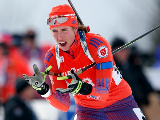 Susan Dunklee of Barton skis to a second place finish in the sprint competition during the World Cup Biathlon, Thursday in Presque Isle, Maine.