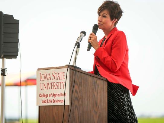 Gov. Kim Reynolds speaks during her weekly news conference