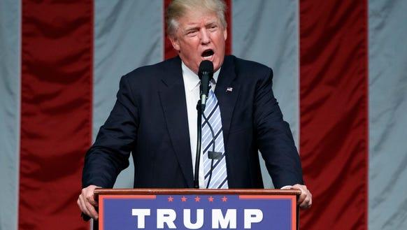 Donald Trump speaks in Fairfield, Conn., on Aug. 14,