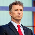 Republican presidential candidate Sen. Rand Paul, R-Ky., takes the stage for the first Republican presidential debate at the Quicken Loans Arena, Thursday, Aug. 6, 2015, in Cleveland. (AP Photo/Andrew Harnik)