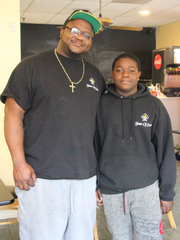 Timothy Lee, of LeRoy, and son Timothy Lee, Jr., 15,