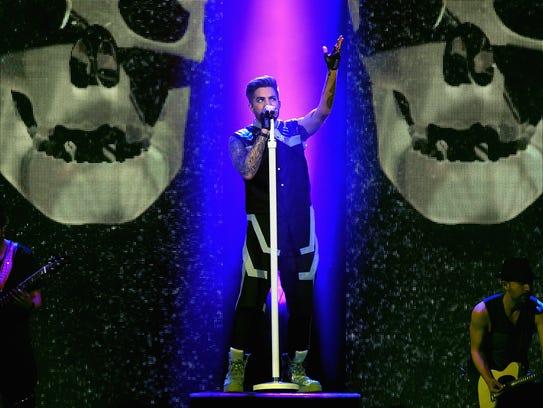 Adam Lambert onstage with his Original High tour earlier