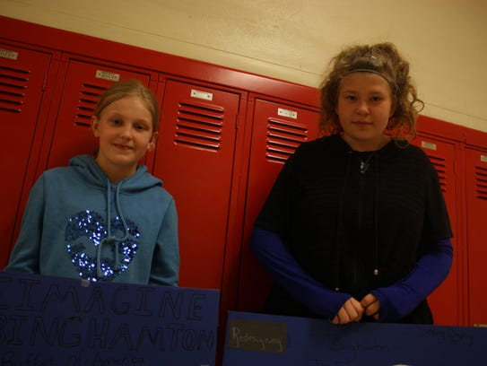 Sarah Hassett, 11, and Destiny Dupuy, 12, both of Binghamton,