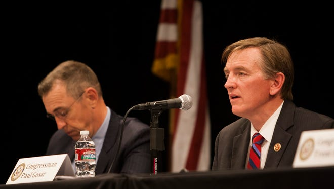Reps. Matt Salmon, left, and Paul Gosar, both Arizona Republicans, so far have stayed out of the feud between Sen. John McCain and presidential candidate Donald Trump. Reps. Trent Franks and David Schweikert have not commented, either. However, Arizona Republicans Sen. Jeff Flake and Rep. Martha McSally have defended McCain's war record from Trump's attacks.