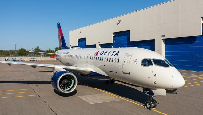 Delta's first Airbus A220 (formerly known as the Bombardier CSeries) rolled out of the paint shop in Mirabel, Quebec, on Sept. 13, 2018.