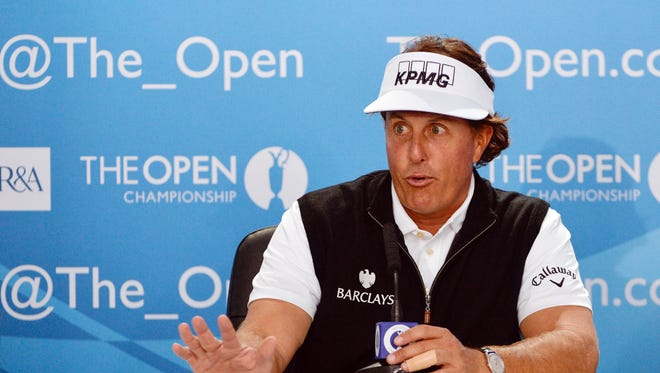 Defending British Open champion speaks at a press conference before his first practice round at the 143rd Open Championship at The Royal Liverpool Golf Club.