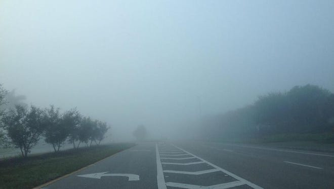 Early morning fog on Three Oaks Parkway in Estero.