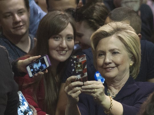 Hillary Clinton poses for selfies with South Jersey residents during her  campaign stop at Camden County College in Blackwood.