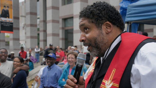The Rev. William Barber II speaks during a Moral Movement event.
