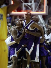 Northwestern State University players celebrate their 64-63 last second win over Iowa in the 2006 NCAA Tournament.