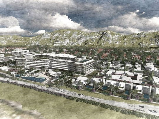 An architect's rendering of a new development planned for the corner of Highway 111 and Miles Avenue in Indian Wells. The project would build roughly 300 hotel rooms, along with condos and villas.