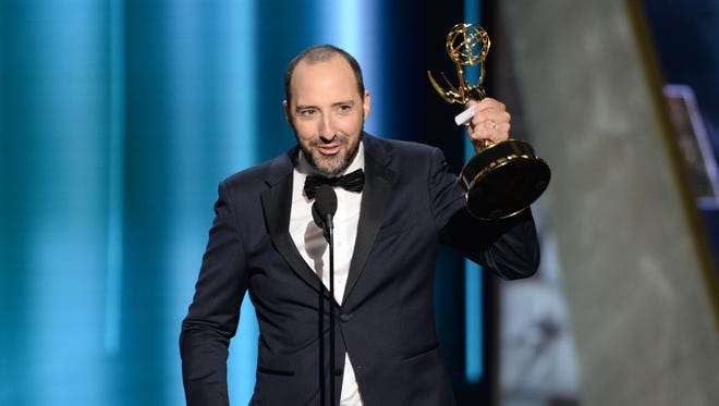 Tony Hale accepts his second Emmy Award win in 2015.