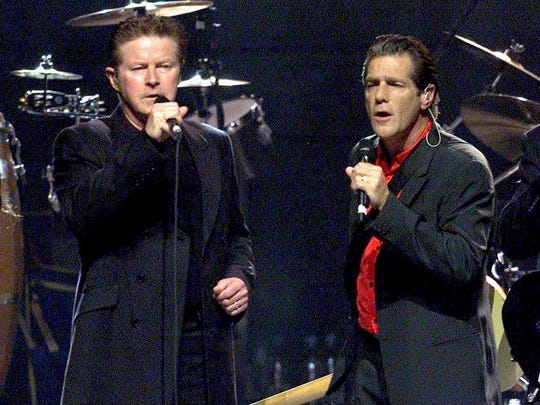 "FILE - In this July 13, 2001 file photo, Don Henley, left, and Glenn Frey perform on their European tour in Zurich, Switzerland. The band's album, ""Hotel California,"" was nominated for a Grammy for album of the year but lost to Fleetwood Mac's ""Rumours"" in 1977."